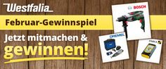 Gewinne mit Westfalia eine Bosch Schlagbohrmaschine, ein Akku Multifunktionswerkzeug von Dremel oder einen modernen Entfernungsmesser.  Jetzt hier mitmachen: https://www.alle-schweizer-wettbewerbe.ch/gewinne-bosch-schlagbohrmaschine/