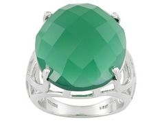 9.15ct Oval Checkerboard Cut Green Onyx Sterling Silver Ring Erv $88.00