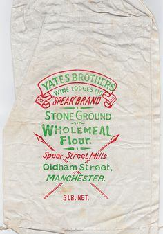 Yates Brothers Wine Lodges - 'Sheaf Brand' wholemeal flour bag, c1960   Flickr - Fotosharing!