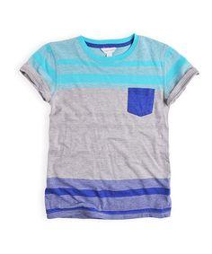 Another great find on #zulily! Blue & Gray Stripe Pocket Tee - Boys #zulilyfinds