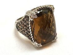 Judith Ripka Monaco ring size 6 Topaz Stone Rhinestones 925 Sterling S – Talkingfashion
