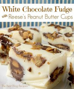 Are you very good at making fudge? Even if you aren't our White Chocolate Reese's Peanut Butter Cup Fudge Bites are super easy to make are are delicious! (easy to make christmas cookies peanut butter) Fudge Recipes, Candy Recipes, Sweet Recipes, Dessert Recipes, Yummy Recipes, Recipies, Vegan Recipes, Just Desserts, Delicious Desserts