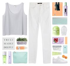 """TRULY MADLY DEEPLY"" by hhuricane ❤ liked on Polyvore featuring J Brand, Monki, Pottery Barn, Davines, H&M, Clinique, Chanel, American Apparel, NIKE and Frette"
