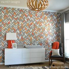 herringbone shuffle modern geometric wall stencil - I'm not sure if I'm ready to commit to another stencil but I love how the different colors look