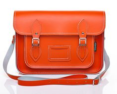 16'' Orange Leather Satchel