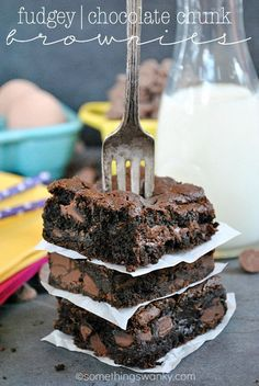 Fudgey Chocolate Chunk Brownies Best brownies ever. I will never make another recipe!