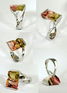 A Jour Jewelry, Ring, Custom Cut Tom Munsteiner bi color tourmaline in a A Jour platinum mounting