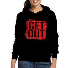 JAM CHEN Get Out Sign Womens Fashion Hooded Sweatshirt Black XL ** More info could be found at the image url.(This is an Amazon affiliate link)