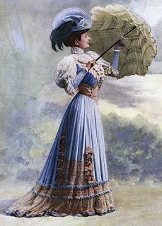 The Sum Of All Crafts: image collection-women (in light blue) Retro Mode, Mode Vintage, Vintage Ladies, 1900s Fashion, Edwardian Fashion, Vintage Fashion, Belle Epoque, Edwardian Dress, Edwardian Era
