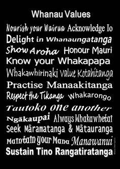 White on black version using New Zealand Maori words.