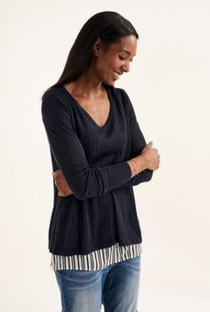 Tall Layered Fabric Mix Sweater at Long Tall Sally Tall Women Fashion, Clothing For Tall Women, Casual Wear Women, Women's Casual, Long Sweaters, Sweaters For Women, Long Tall Sally, Knitwear, Latest Trends