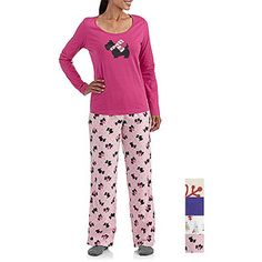 Women's and Women's Plus-Size Microfleece Pant and Printed Long Sleeve Shirt Set (Sizes S-3X)