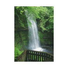 Lush Green Tropical Waterfall Wall Art Stretched Canvas Print