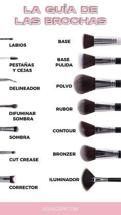 Uso de Brochas Maquillaje. Te dejo una guía de los usos y tipos de brochas necesarias para hacer un maquillaje completo.