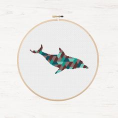 Diving Dolphin Cross Stitch Pattern Ocean Polygon Instant Download PDF Printable Pattern Modern Cross Stitch Animal Collage Geometric Mosaic