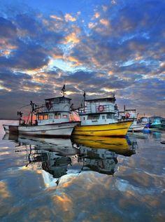 Poppy Canal Barcaza Barco de Madera Modelo Azul//Rojo un montón de detalles Marítima Barco