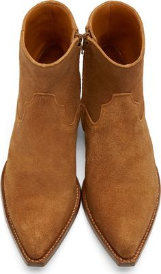 Saint Laurent Brown Suede Santiag Boots