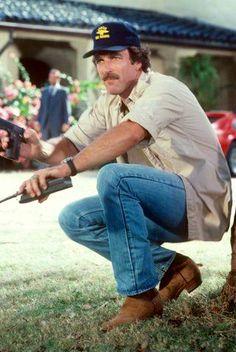"Tom in an action scene from the TV show ""Magnum, P. John Hillerman, Harrison Ford Indiana Jones, Surf Style Men, Jesse Stone, Preppy Boys, Beard Game, Sam Elliott, Magnum Pi, Tom Selleck"