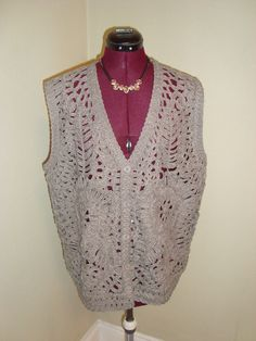 New WT Jon & Anna Sz XL Gray Floral Textured Knit Button Front Women's Vest #JonAnna
