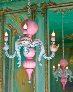 kitsch cat chandelier by adam wallacavage Chandelier Design, Glass Chandelier, Purple Chandelier, Chandelier Crystals, Estilo Kitsch, Color Splash, Yoga Studio Design, Chandeliers, Deco Addict