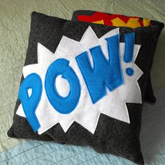 Onomatopoeia pillow for Superhero bedroom