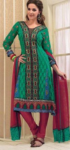 $103.87 Green Full Sleeve Georgette Knee Length Punjabi Salwar Kameez 18309