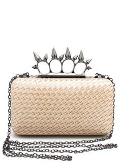 woven-spiked-ring-handle-clutch CHAMPAGNE GOLD NAVY ORANGE - GoJane.com