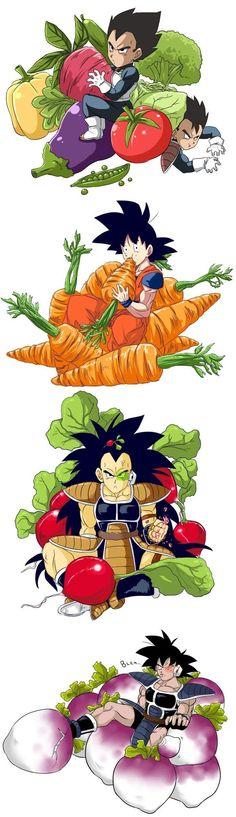 Vegeta, Tarble, Goku (Kakarot), Raditz, and Turles