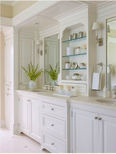 Bathroom vanity with fewer cabinets, cleaner look
