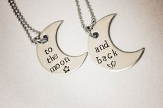 Hand Stamped Necklace Set - To the moon... and back - Stainless Steel Jewelry - Great for Couples, Best Friends, Gifts for Children. $40.00, via Etsy.