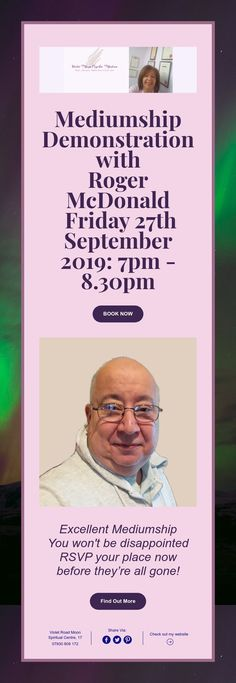 Mediumship Demonstration with Roger McDonald Friday September - 27 September, Upcoming Events, Rsvp, Books, Libros, Book, Book Illustrations, Libri