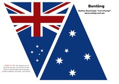Free printable Australia flag bunting (from Mother Duck Said Let's Party! Australian Party, Australian Flags, Australian Food, Perth, Australia Day Celebrations, Aus Day, Australia Funny, Aussie Food, World Thinking Day