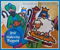 DIY Nativity Puppets using this free printable from blessedbeyondadoubt.com