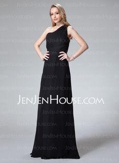 Bridesmaid Dresses - $115.99 - A-Line/Princess One-Shoulder Floor-Length Chiffon Bridesmaid Dress With Ruffle (007004281) http://jenjenhouse.com/A-Line-Princess-One-Shoulder-Floor-Length-Chiffon-Bridesmaid-Dress-With-Ruffle-007004281-g4281