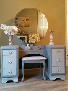 Vintage Dressing Cute vintage vanity and mirror repurposed and refinished in grays crystal knobs and new fabric for the bench. Visit my FB page to see more of my pieces :) ChicandShabbyFurnitureByRebecca - Refurbished Furniture, Repurposed Furniture, Furniture Makeover, Painted Furniture, Refinished Vanity, Vanity Redo, Furniture Projects, Furniture Making, Home Furniture