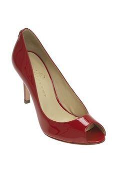 Cleo Open Toe Patent Pump in Aurora Red