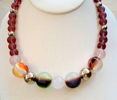 Reproduction Lucite Marbles and Glass Bead Necklace by joyceshafer, $29.95