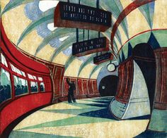 "Cyril Edward Power (British, 1872-1951) - ""The Tube Station"", 1932 - Linocut"