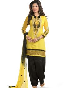 http://www.istyle99.com/Dress-Material/Yellow-And-Black-Cotton-Embroidered-Party-Wear-Unstitched-Dress-6677.html Yellow And Black Cotton Embroidered Party Wear Unstitched Dress @ Rs887.00 Stitch Type: Unstitched Occassion Type: Party Wear Colour: Yellow,Black Top Fabric: Chanderi Cotton Bottom Fabric: Semi Santoon Dupatta Fabric: Nazmeen Work Style: Embroidered Style Type: Patiyala Suit Top Size: 2.3 MTR Bottom Size: 2 MTR Dupatta Size: 2.25 MTR