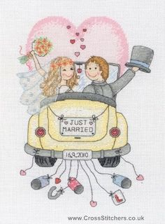 Image detail for -Wedding Samplers - Just Married - Wedding Sampler Cross Stitch Kit by ...