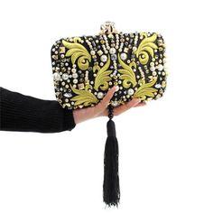 Luxury Pearl Beads Diamonds Gold Embroidery Clutch Bag Black Tassels Crystal Evening Bag Bridal Wedding Handbag with Chain Y636 - On Trends Avenue