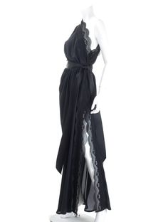 f26f500478b Very Rare Vintage Yves Saint Laurent Evening Dress in Black Silk and Lace 2  Rive Gauche