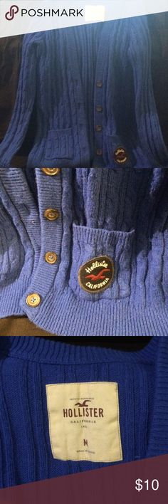 Blue collegiate style cardigan Gently worn blue cardigan. Button up with from pockets. Hollister Sweaters Cardigans