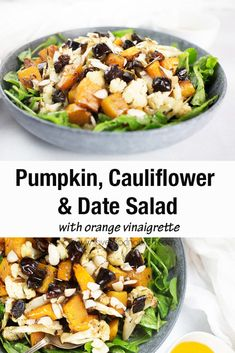 The combination of cumin, dates, almonds and orange give this pumpkin and cauliflower salad a hint of Middle Eastern flavours. This combination of flavours and textures make this salad a little different from your classic pumpkin salads but I think you will love it! #pumpkin #vegan #pumpkinsalad Salad Recipes Gluten Free, Healthy Holiday Recipes, Healthy Salad Recipes, Healthy Meals, Free Recipes, Gluten Free Pumpkin, Healthy Pumpkin, Pumpkin Recipes, Roast Pumpkin Salad
