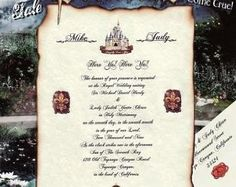 Medieval Wedding Invitation Scroll with burnt edges Printed onto