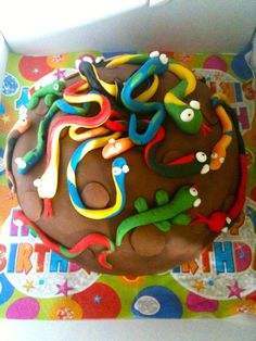 I think even I could do this one...snake cake for a little boys birthday cake