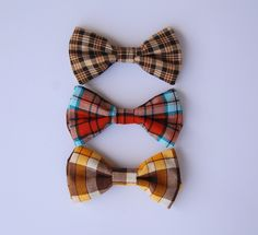Pick-Your-Plaid Men's Bow Tie - Clip-On - Brown, Yellow, Aqua, Orange, Funky, Eclectic, Colorful, Cotton, Casual, Formal, Autumn, Fall. $18.50, via Etsy.