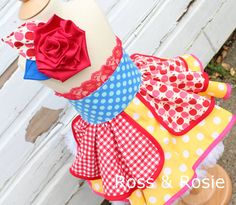 Snow White inspired Dress Up Costume Apron Half Apron style Exrta Fancy, Ready to Ship Size 2/3
