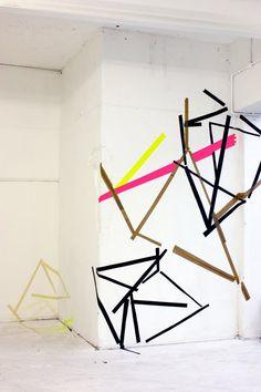tape art Masking Tape Art, Washi Tape, Tape Installation, Elements Of Art, Geometric Designs, Graphic Illustration, Life Plan, Inspiring Art, Contemporary