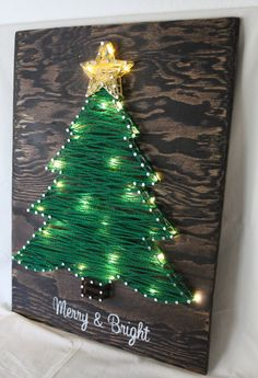 Merry & Bright Christmas Tree String-Art w/ warm-white LED lights (battery operated w/ optional 6 hour timer) on dark brown stained wood. [by: LambofHearts]